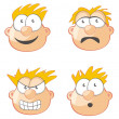Stock Vector: Four Faces and expressions
