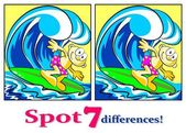 The surfer - Find the seven differences — Stock Vector