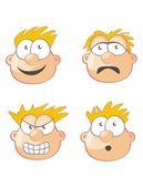 Four Faces and expressions — Stock Vector