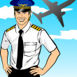 Stock Vector: Airline pilot