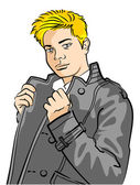 Leather Jacket Man — Stock Vector
