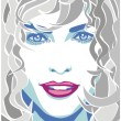Curly-haired woman — Stock Vector