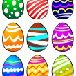 Nine Easter Eggs — Stock Vector
