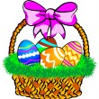 Easter Basket with a pink bow — Stock Vector