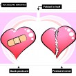 Broken heart - card — Stock Vector