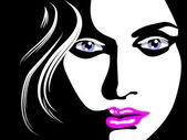 Sketch of woman face — Stock Vector