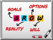GROW Goals, reality, options, will — Stock Vector