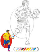 COLORING BOOK SKETCH: Soccer Player — Stock Vector