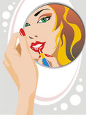 Woman looking in the mirror — Stock Vector