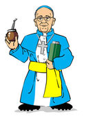 Pope Francis I drinking a mate — Stock Vector