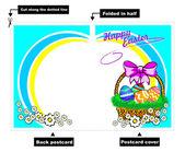 Easter basket postcard — Stock Vector