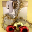 Stock Photo: Christmas gifts and baubles