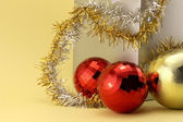 Two Christmas baubles red — Stock Photo