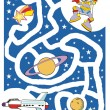 Stock Vector: Kids labyrinth: astronaut and his spaceship