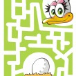 Stock Vector: Kids labyrinth: mother ostrich and egg