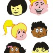 Kids Faces  - icons — Stock Vector