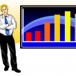 Stock Vector: Business worries with graph