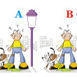 Stock Vector: Find seven differences - dog peeing