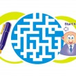 Maze game: clerk and pen — Stock Vector #33543767