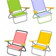 Four beach chairs — Stock Vector