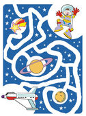 Kids labyrinth: The astronaut and his spaceship — Stock Vector