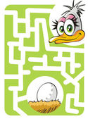 Kids labyrinth: mother ostrich and egg — Stock Vector