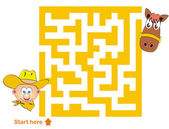 Maze game: cowboy and horse — Stock Vector