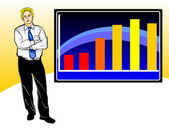 Business worries with graph — Stock Vector