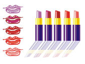 Different lipstick colors — Stock Vector