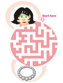 Maze game: woman and necklace — Stock Vector
