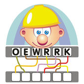 Word game with the worker — Stock Vector