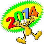 Hooray I get the new year 2014 — Stock Vector
