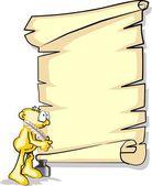 Mann ein pergament schreiben — Stockvektor