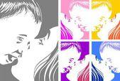 母は彼女の赤ちゃんにキス - セット — ストックベクタ
