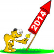 Rocket to celebrate new year 2014 — Vector de stock #36198681