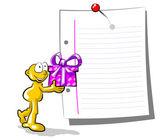 Hombre dando un regalo — Vector de stock