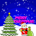 Merry Christmas Postcard with santa claus and a pine — Stok Vektör #36887793