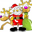 Santa claus with his bag of gifts and two reindeer — Stock Vector