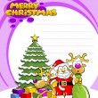 Santa claus two reindeer and a Christmas tree — Stock Vector