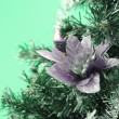 Christmas tree with flower on green background — Stock Photo