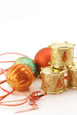 Christmas decoration with golden drums — Stock Photo