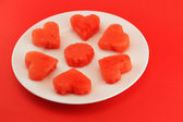 Hearts of watermelon on a plate — ストック写真