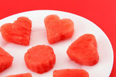 Sandia hearts on a plate - closeup — Stock Photo
