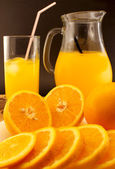 Juice of fresh oranges close up — Stock Photo