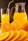 Juice of fresh oranges close up — Stock Photo