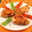 Stock Photo: Grilled chicken on a plate on the table