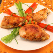 Stock Photo: Grilled chicken on plate on table