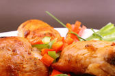 Pieces of grilled chicken close up — Stock Photo
