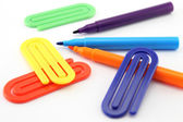 Markers and paper clips — Stock Photo