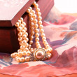 Ornate box and pearl necklace detail — Stock Photo #48699157